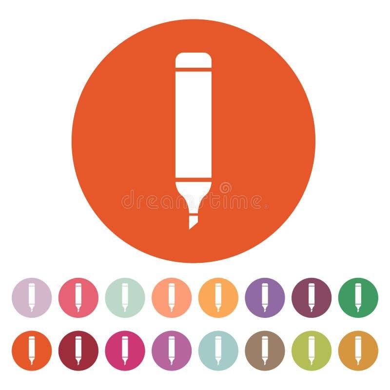 El icono del marcador Pluma y lápiz, símbolo del highlighter plano stock de ilustración