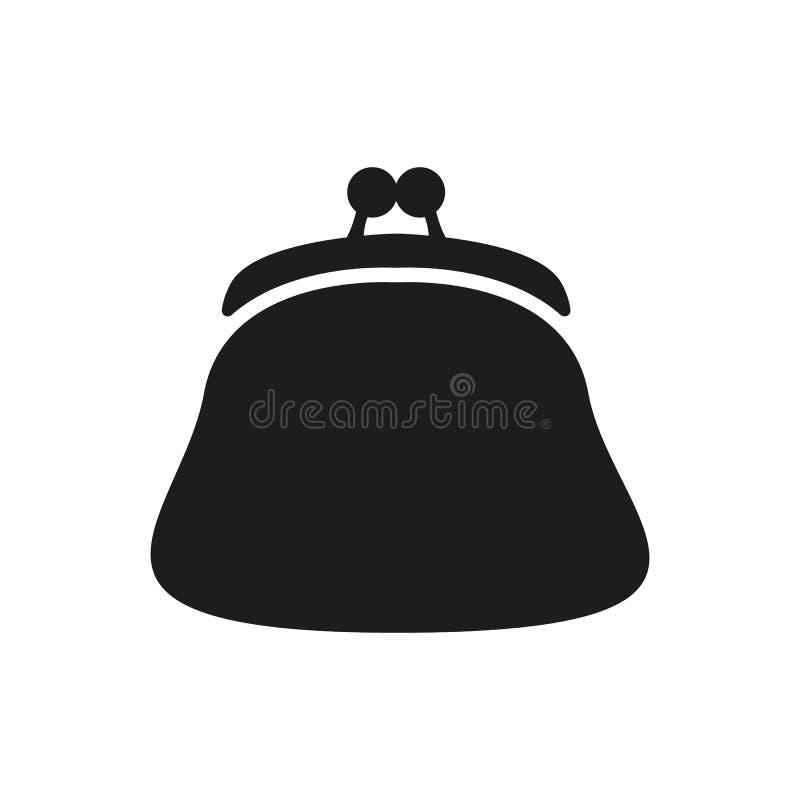 El icono del monedero Símbolo de la cartera, de la bolsa y del dinero plano libre illustration