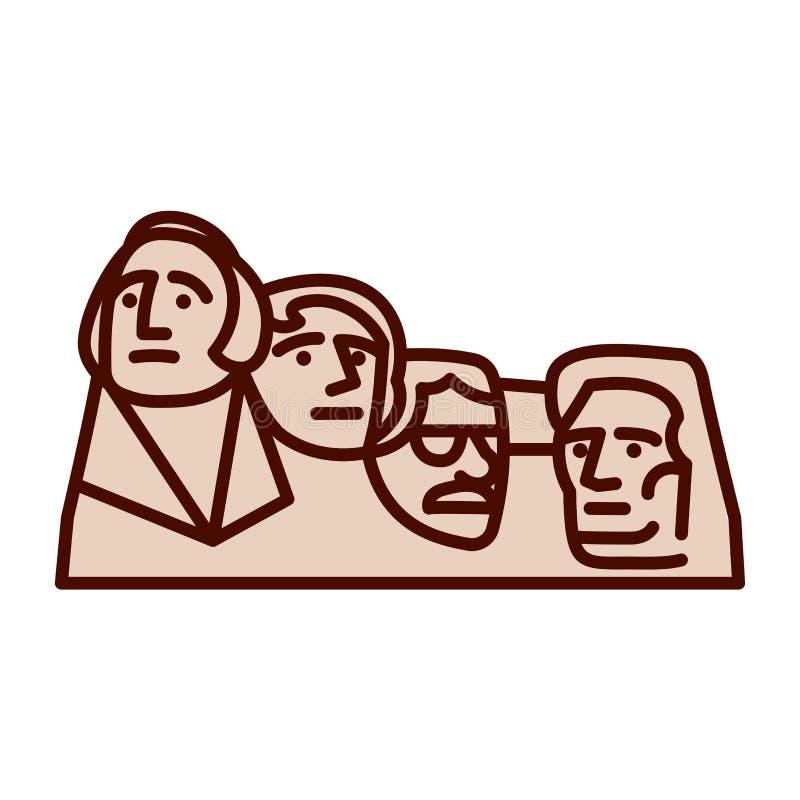 El icono del monte Rushmore Emoji de la historieta aisló stock de ilustración