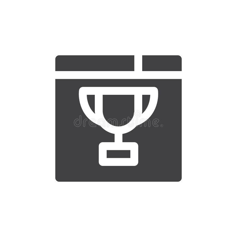 El icono del navegador y del trofeo vector, muestra plana llenada, pictograma sólido aislado en blanco libre illustration