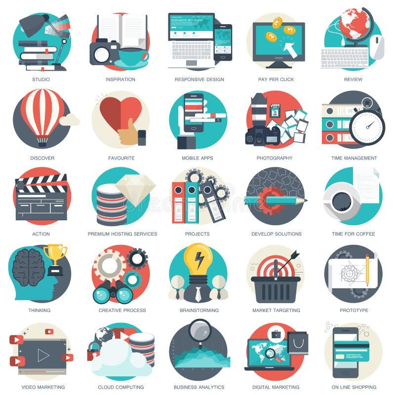 El icono del negocio, de la tecnología y de las finanzas fijó para los sitios web y las aplicaciones móviles y los servicios Vect ilustración del vector