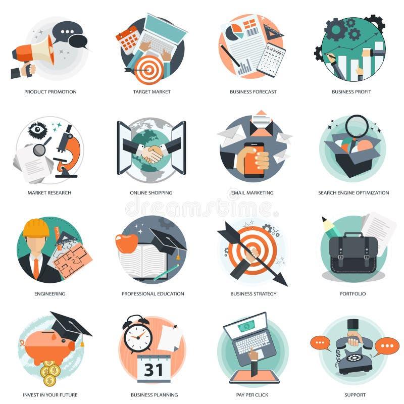 El icono del negocio y de la gestión fijó para los servicios del desarrollo del sitio web y de teléfono móvil y los apps Vector p stock de ilustración