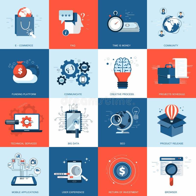 El icono del negocio y de la tecnología fijó para los sitios web y las aplicaciones móviles Vector plano libre illustration