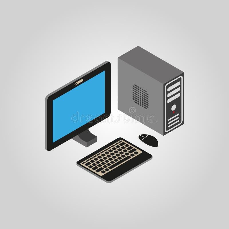 El icono del ordenador PC, símbolo de escritorio 3D isométrico Vector plano libre illustration