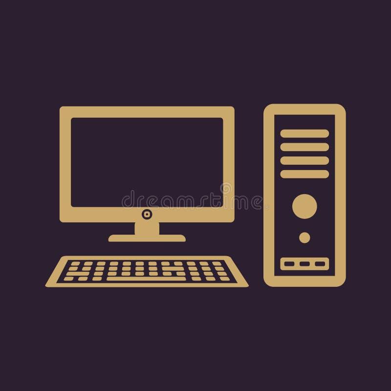 El icono del ordenador Símbolo de la PC plano stock de ilustración