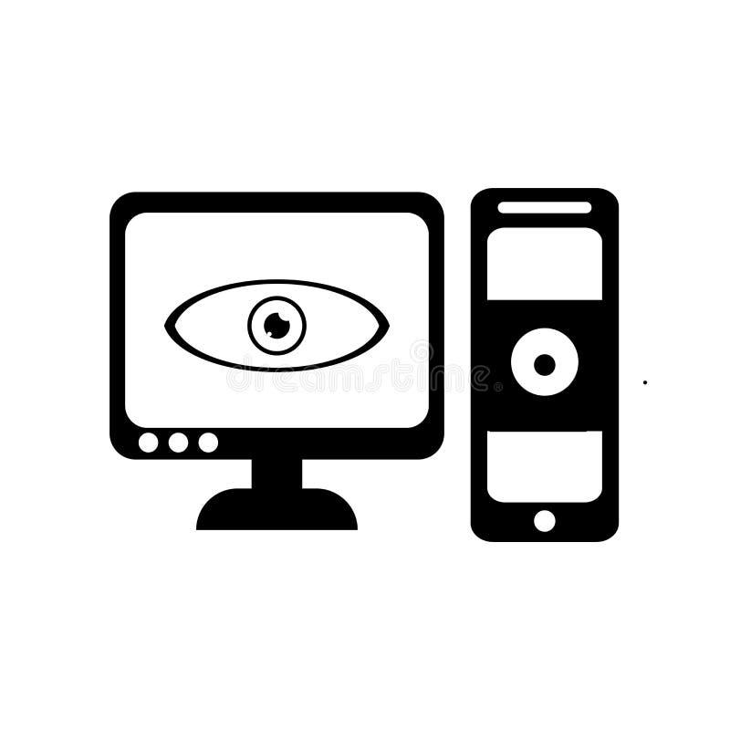 El icono del ordenador y del monitor vector la muestra y el símbolo aislado en whi stock de ilustración