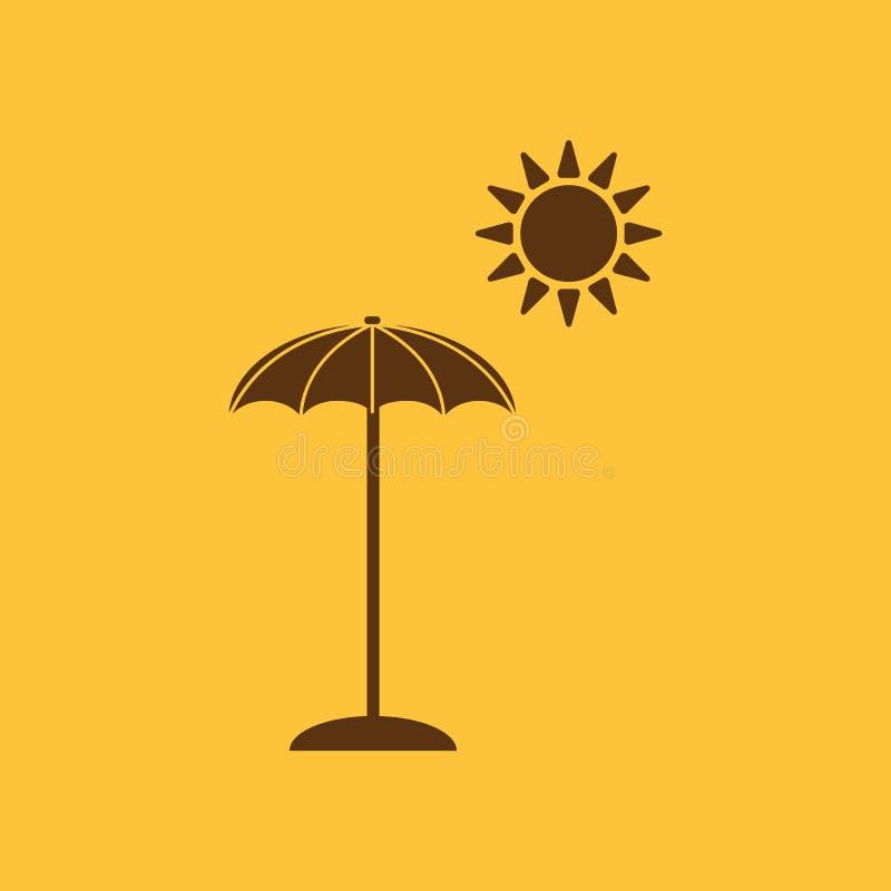 El icono del parasol Símbolo de las vacaciones plano libre illustration