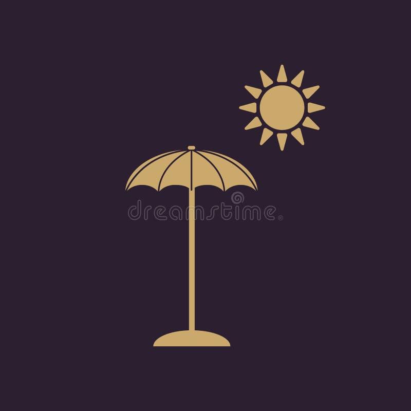 El icono del parasol Símbolo de las vacaciones plano stock de ilustración
