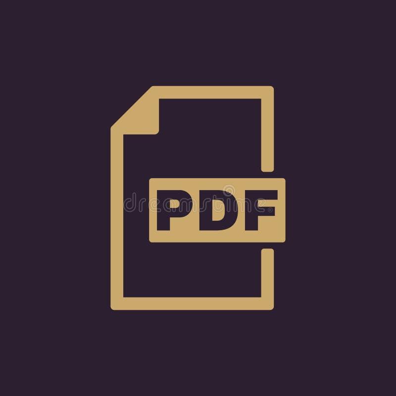 El icono del pdf Símbolo del formato de archivo plano ilustración del vector