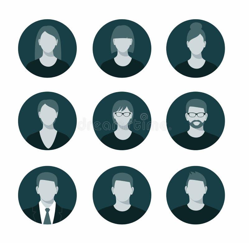 El icono del perfil de Avatar fijó incluir el varón y a la hembra stock de ilustración
