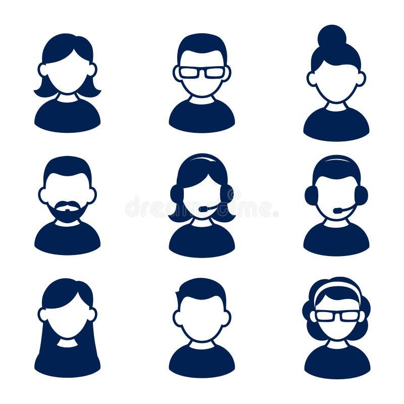 El icono del perfil de Avatar fijó incluir el varón y a la hembra ilustración del vector