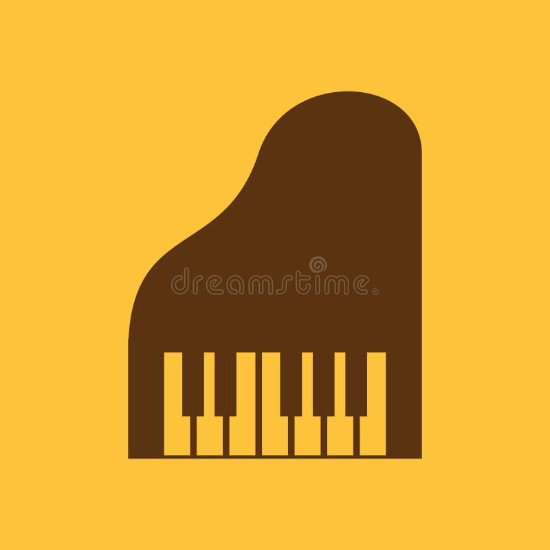 El icono del piano Música y pianista, músico, símbolo del sintetizador plano stock de ilustración
