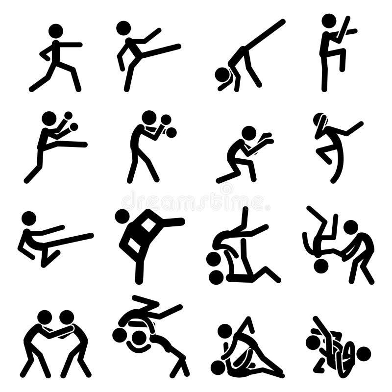 El icono del pictograma del deporte fijó 03 artes marciales ilustración del vector