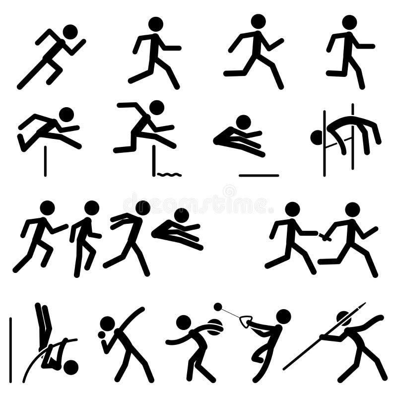 El icono del pictograma del deporte fijó la pista 02 y el campo stock de ilustración