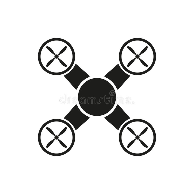 El icono del quadrocopter Símbolo de Quadrocopter plano libre illustration