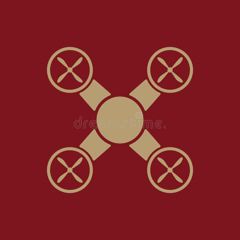 El icono del quadrocopter Símbolo de Quadrocopter plano stock de ilustración