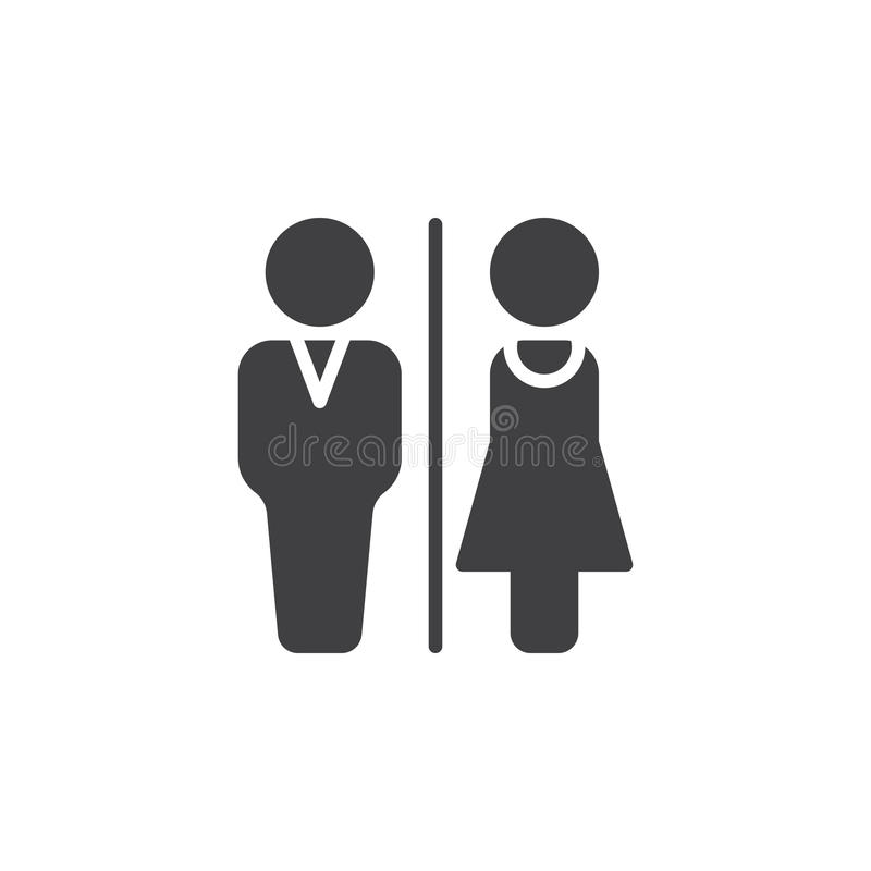 El icono del retrete del hombre y de la mujer vector, muestra plana llenada, pictograma sólido aislado en blanco libre illustration