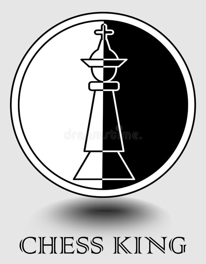 El icono del rey del ajedrez en el diseño monocromático, vertical splitted a la parte blanco y negro, sombra del objeto Diseñado  libre illustration