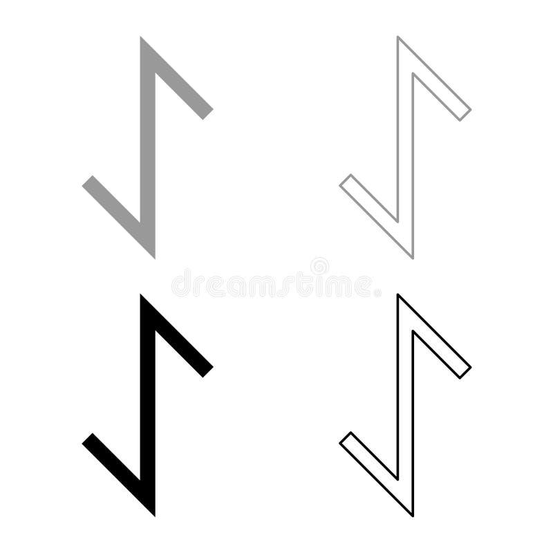 El icono del símbolo de la tutela de la fuerza del tejo de la runa de Eywas fijó imagen simple de color del ejemplo del estilo pl stock de ilustración