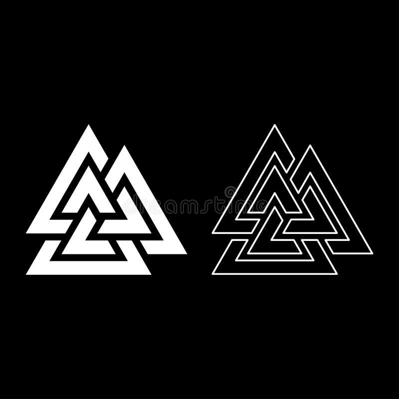 El icono del símbolo de Valknut fijó imagen plana del estilo del color del ejemplo blanco del vector libre illustration