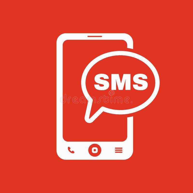El icono del SMS Smartphone y teléfono, comunicación, símbolo del mensaje plano libre illustration