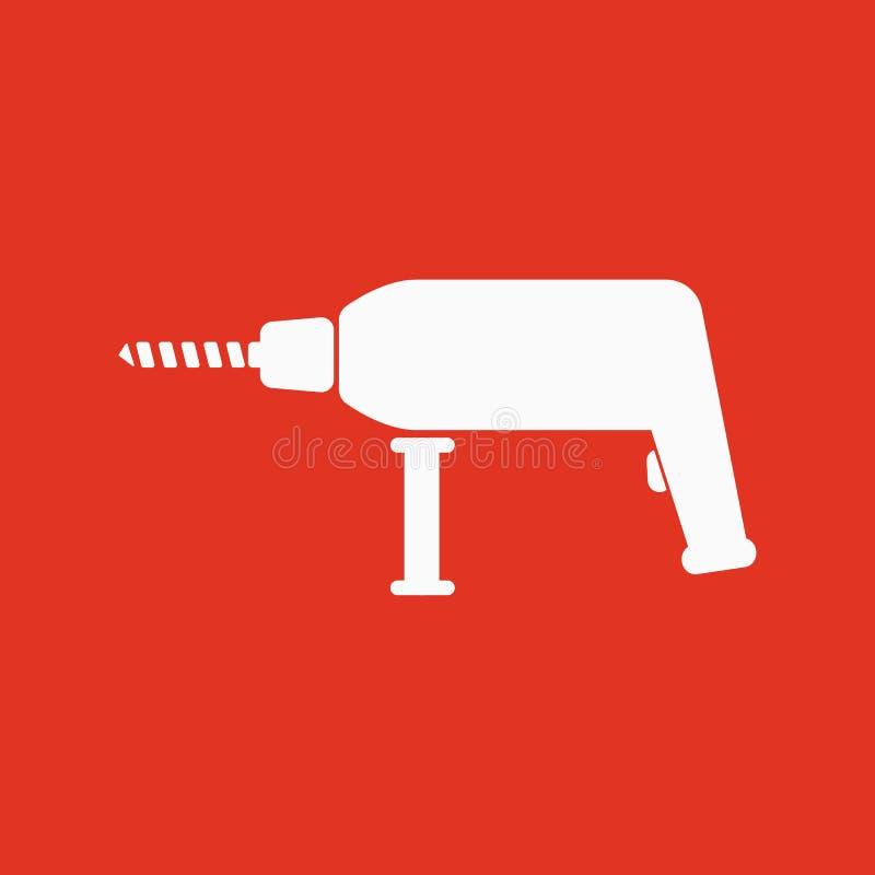 El icono del taladro Símbolo del perforador plano stock de ilustración