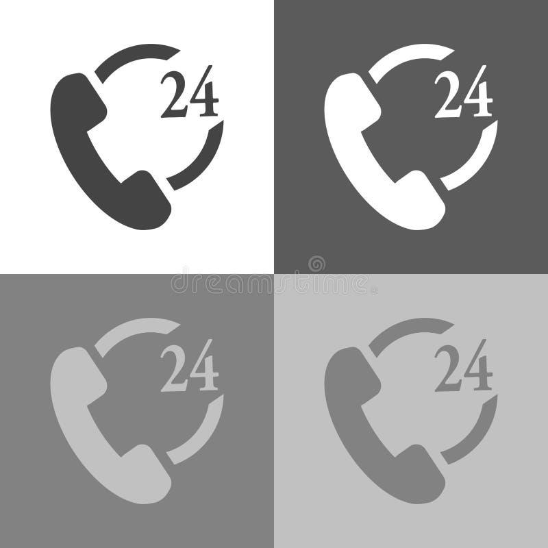 El icono del teléfono fijó 24 horas de ayuda Ico del ejemplo del vector del microteléfono ilustración del vector