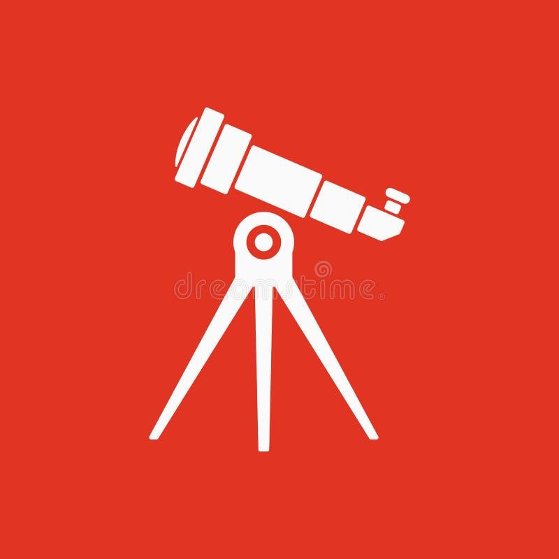 El icono del telescopio Símbolo del catalejo plano libre illustration