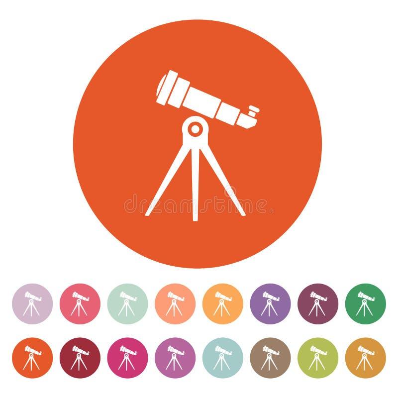 El icono del telescopio Símbolo del catalejo plano stock de ilustración