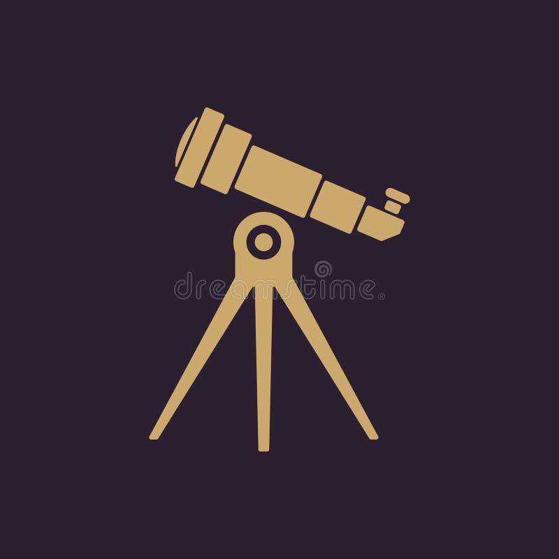 El icono del telescopio Símbolo del catalejo plano ilustración del vector
