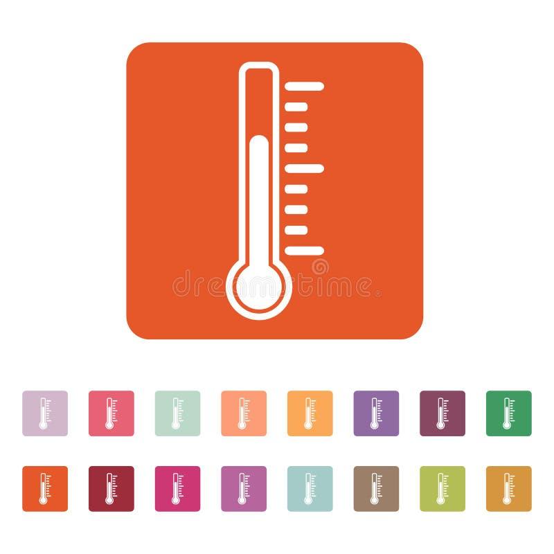 El icono del termómetro Símbolo del termómetro plano stock de ilustración