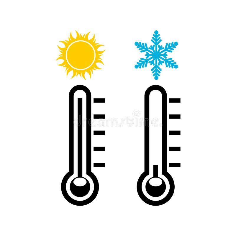 El icono del termómetro, temperatura del cielo y tierra libre illustration