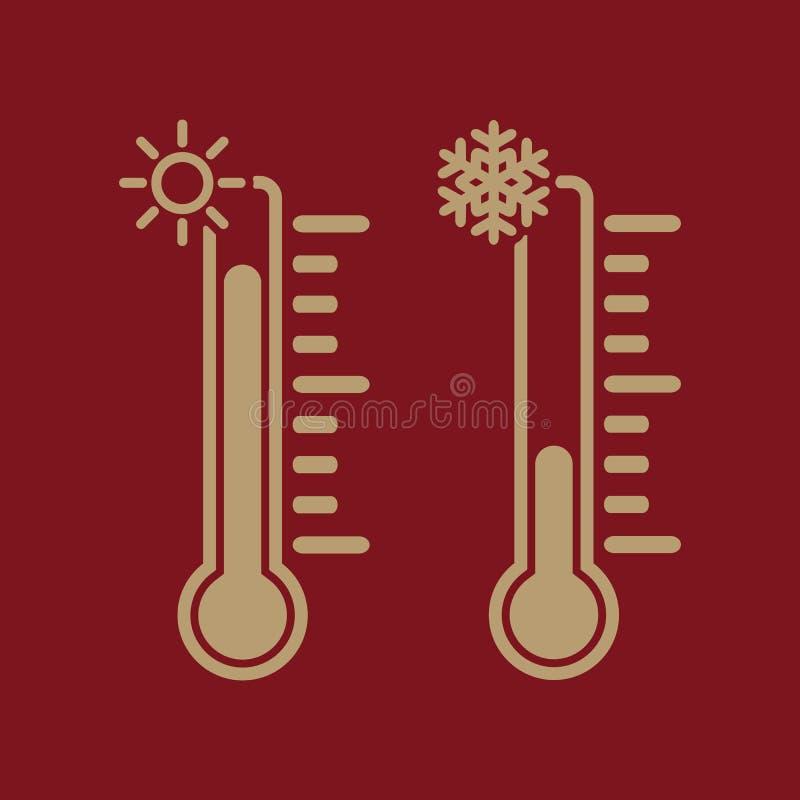El icono del termómetro Temperatura del cielo y tierra ilustración del vector