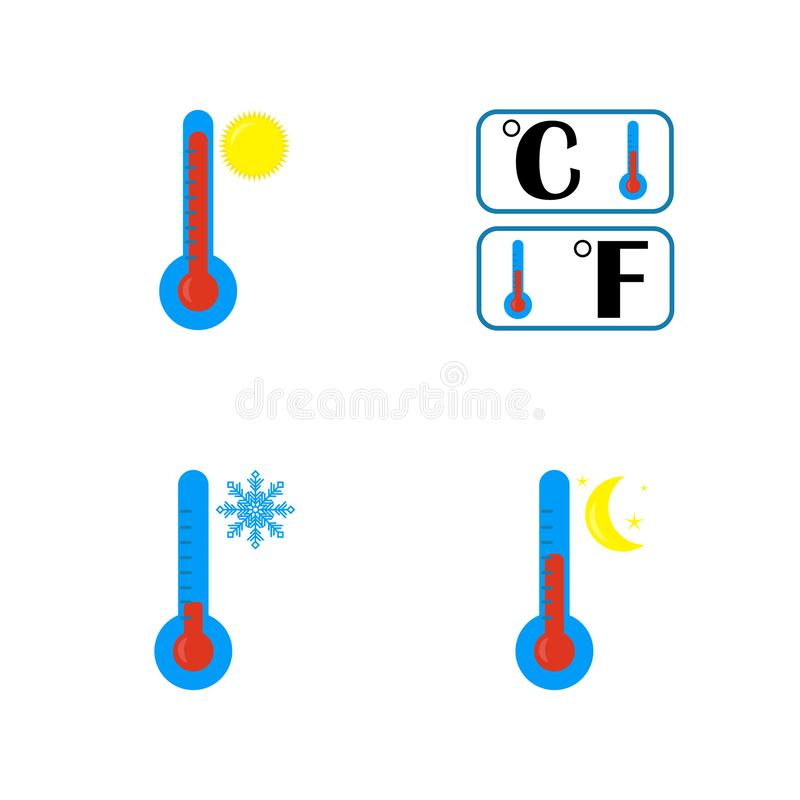 El icono del term?metro Símbolo alto, bajo y nocturno de la temperatura Grados en Celsius y Pharyngeate Ejemplo plano del vector stock de ilustración