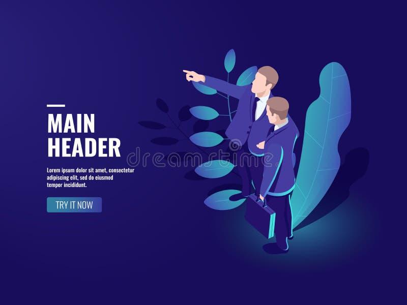 El icono del trabajo en equipo, dos hombres de negocios está hablando, líder de equipo, concepto acertado de la gente, educación  ilustración del vector