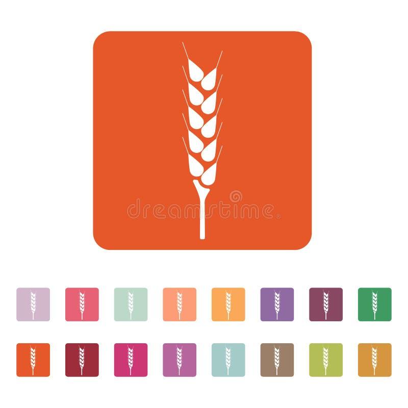 El icono del trigo Símbolo de Spica plano stock de ilustración