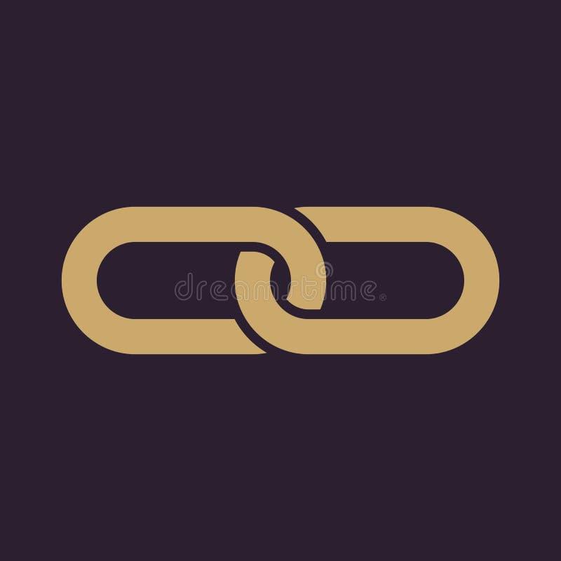 El icono del vínculo Ligado y unido a, conexión, enlace hipertexto, símbolo de cadena plano ilustración del vector