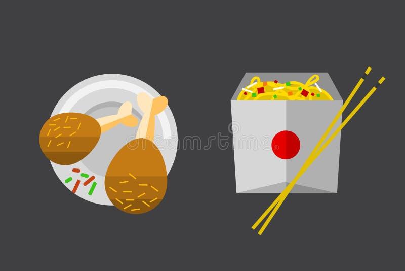 El icono del vector chiken los alimentos de preparación rápida de las piernas libre illustration