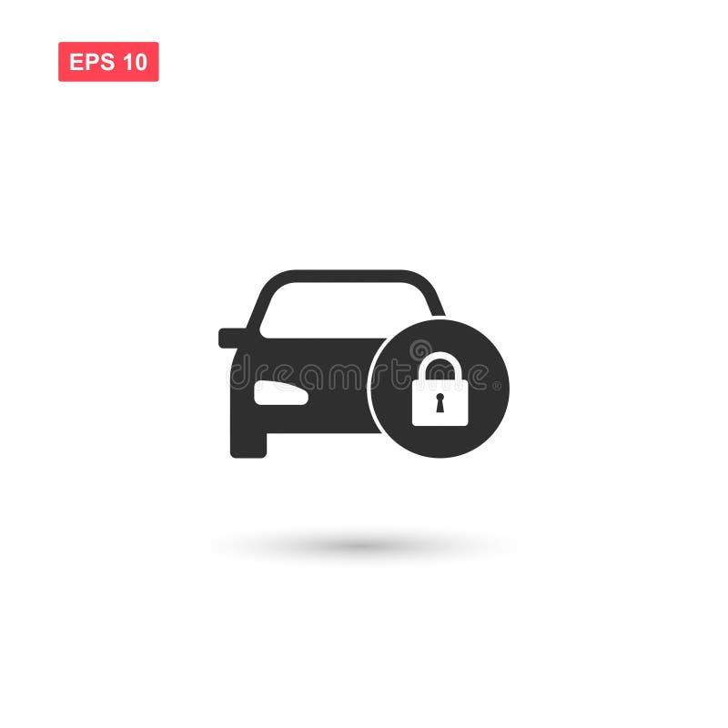 El icono del vector de la cerradura del vihicle de la seguridad del coche aisló ilustración del vector