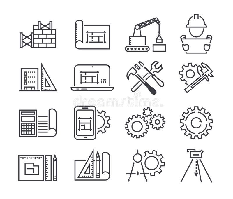 El icono del vector de la ingeniería y de la fabricación fijó en la línea estilo fina ilustración del vector