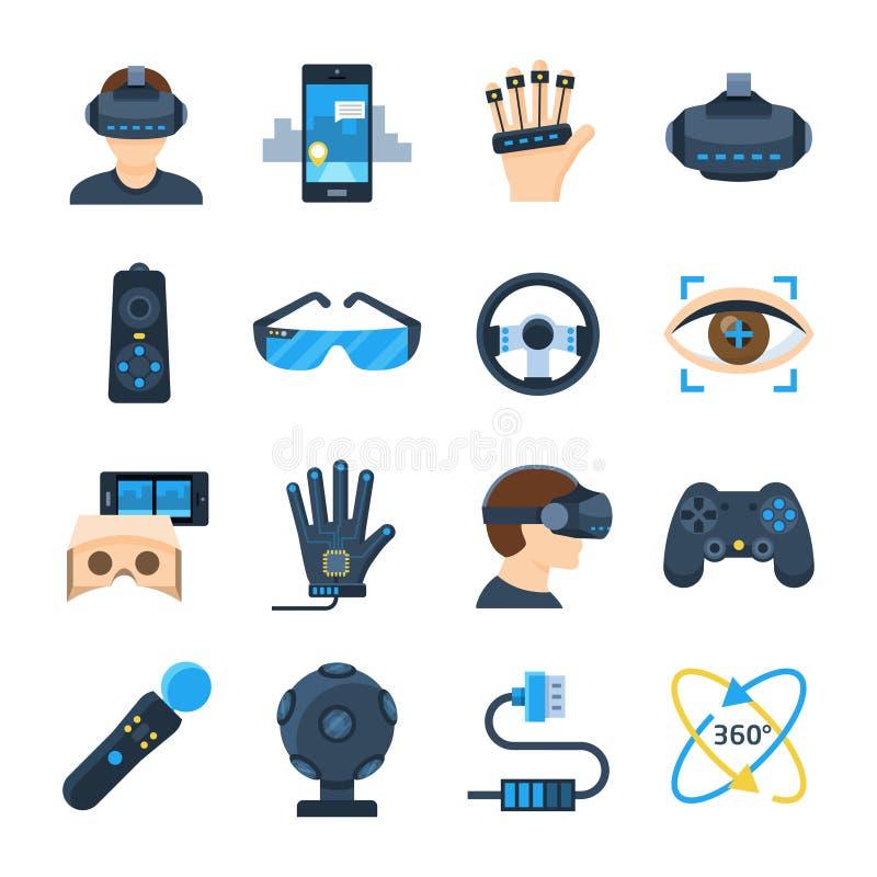 El icono del vector de la realidad virtual fijó en estilo plano libre illustration