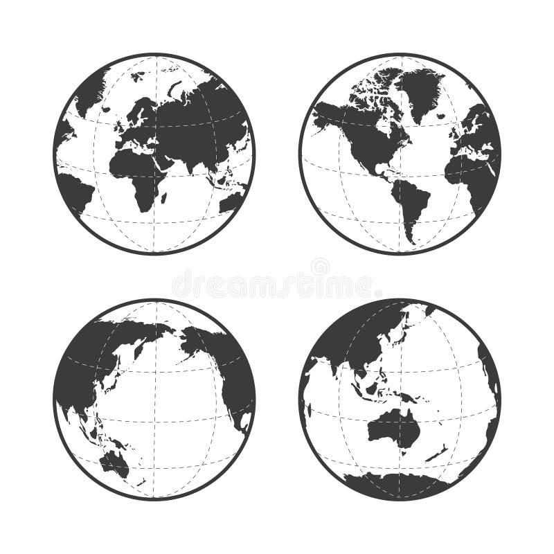 El icono del vector de la tierra del globo fijó en el fondo blanco libre illustration