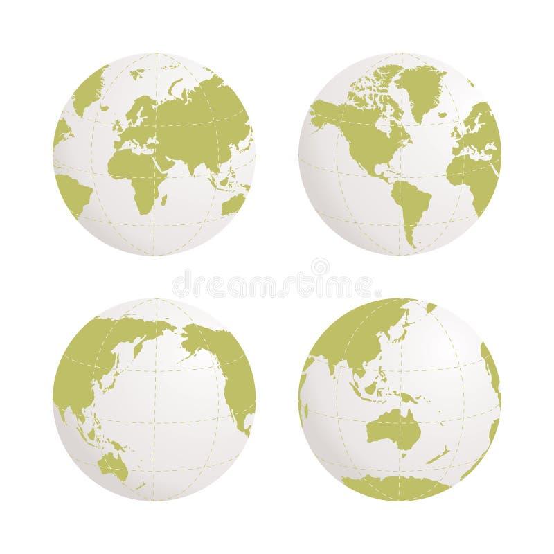 El icono del vector de la tierra del globo fijó en el fondo blanco stock de ilustración