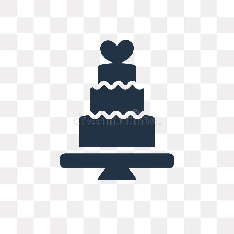 El icono del vector del pastel de bodas aislado en fondo transparente, se casa stock de ilustración