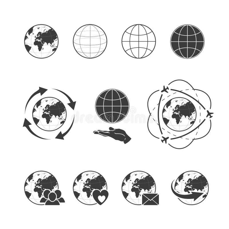 El icono del vector que viajaba fijó con tierra del globo en el fondo blanco stock de ilustración