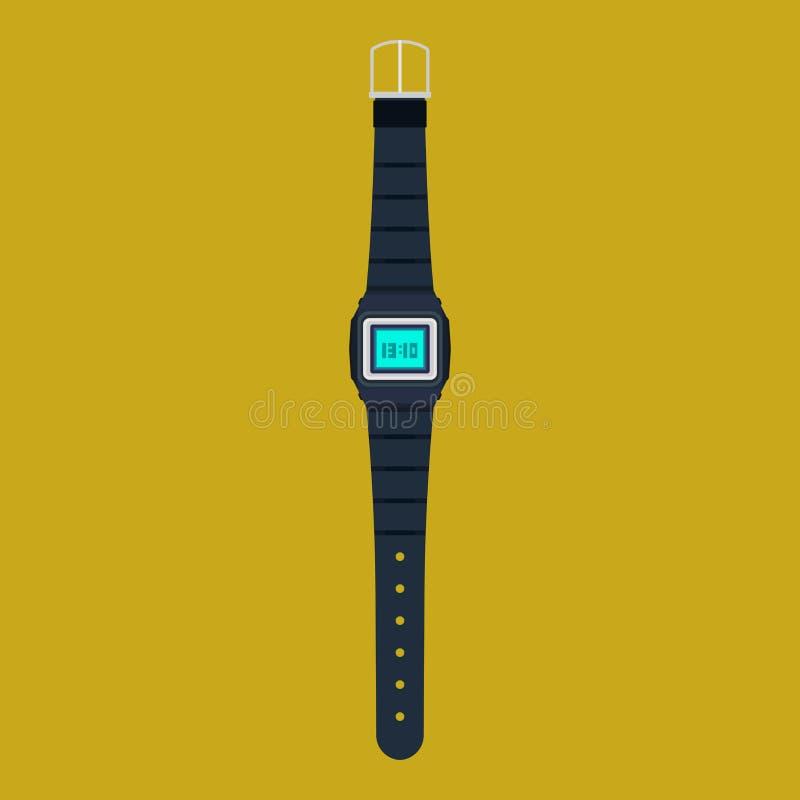 El icono del vector del reloj aisló Accesorio moderno del tiempo de diseño del reloj de la mano Historieta plana clásica negra de libre illustration