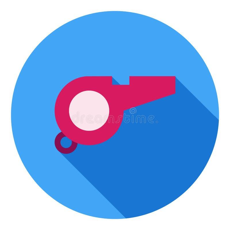 El icono del vector del silbido, deportes arbitra el icono, símbolo del árbitro Icono largo moderno, plano del vector de la sombr ilustración del vector