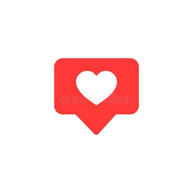 El icono del vector tiene gusto Pulgares encima de Instagram con forma del corazón Icono rojo de los medios sociales en fondo ais ilustración del vector