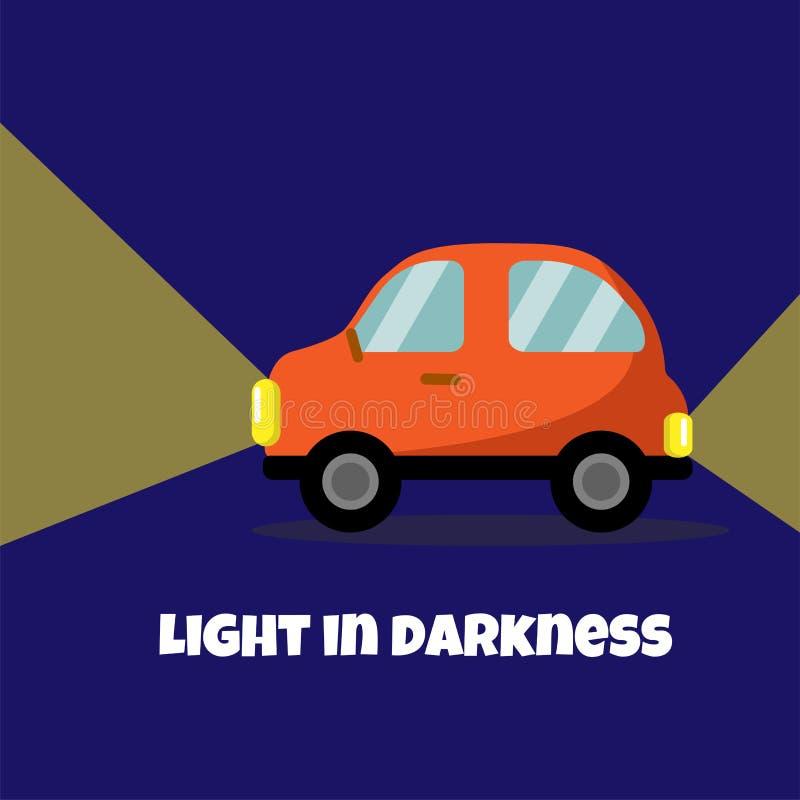 El icono del vehículo de pasajeros y la lámpara planos de la cabeza se encienden Luz en cartel de la oscuridad libre illustration