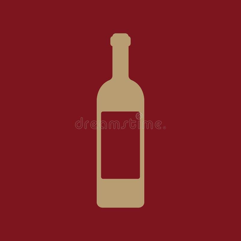 El icono del vino Símbolo de la botella plano ilustración del vector